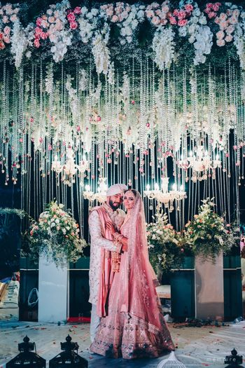 Pastel bride and groom couple portrait