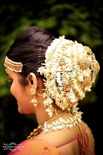 Bridal bun ideas for South Indian bride