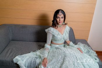 Photo of Powder blue lehenga for engagement indowestern