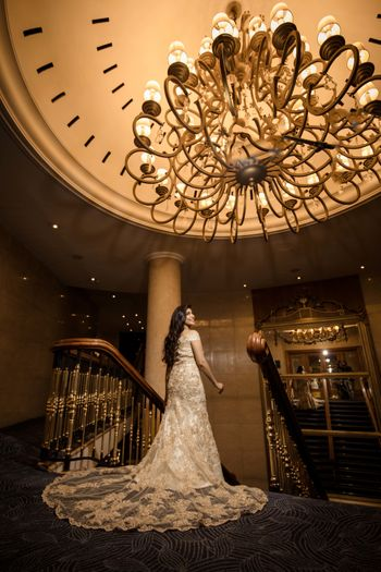 Beige gown with train