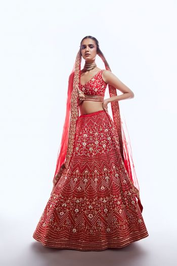 Simple red bridal lehenga with embroidery