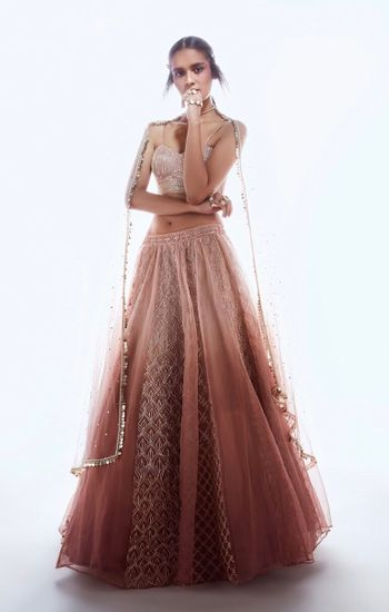 Light ombre engagement lehenga in beige