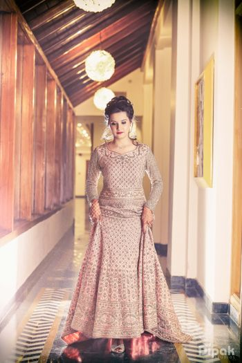 Floor Length Champagne Gold Zardosi Work Gown