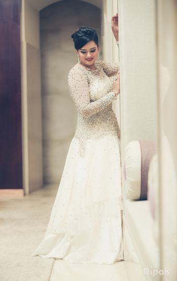 White Cocktail Gown with Silver Sequins Motifs