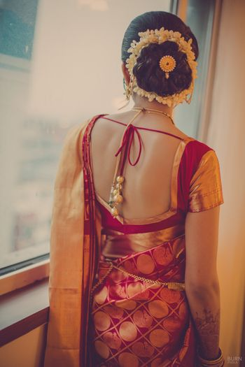 Photo of red and gold banarsi silk saree