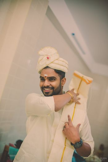 Photo of Groom Wearing White Dupatta