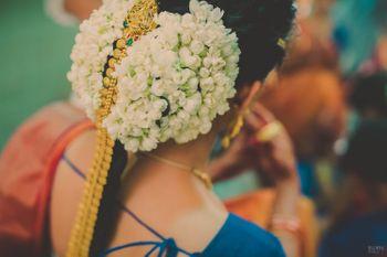 Gajra in Hair - South Indian Gold Braid