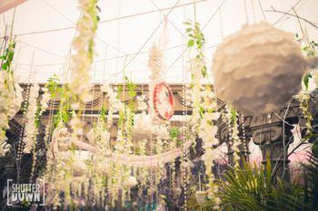 white floral hangings