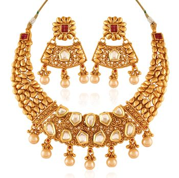 gold and polki necklace
