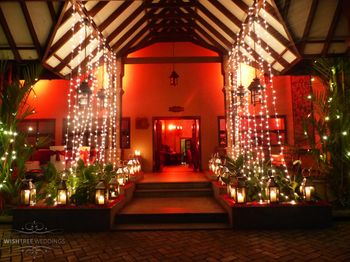 Red Themed Entrance with Fairy Lights