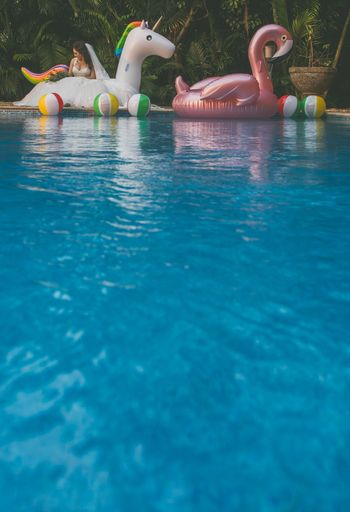 Pool party floats flamingo and unicorn
