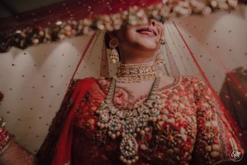 Bridal necklace with layered jewellery