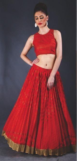 printed red lehenga
