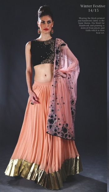 peach and black lehenga