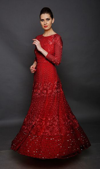 red threadwork lehenga
