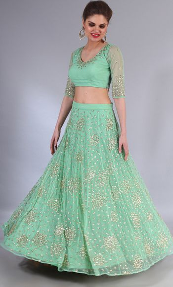 Photo of mint green lehenga