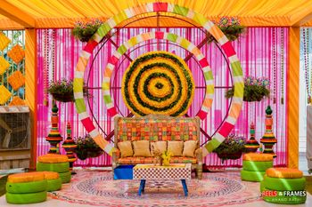 Photo of Mehendi photobooth cum bridal seat idea