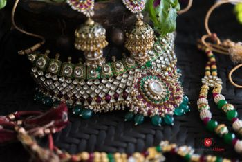 Bridal jewellery with green beads and polki