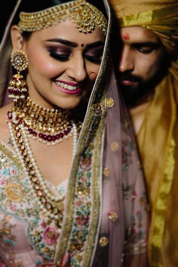 Romantic cosy couple shot on wedding day
