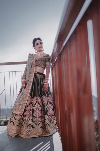 Offbeat teal sabyasachi bridal lehenga