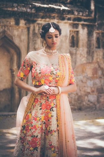 Photo of Peach floral print lehenga for mehendi