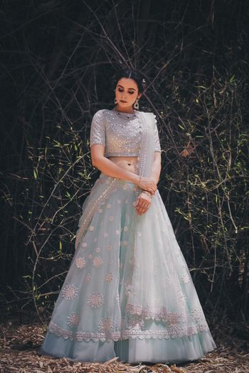 Photo of Powder blue light engagement lehenga