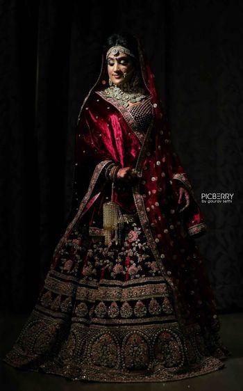 Photo of Sabyasachi maroon bridal lehenga