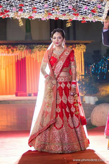Red and Gold Zari Bridal Lehenga