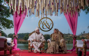 Floral mandap decor with personalised sign