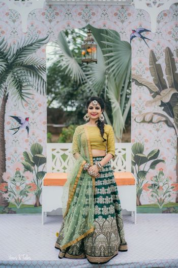 Green mix and match mehendi lehenga