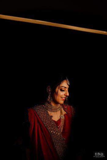 Simple bride with shadow portrait
