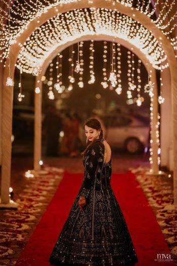 Black on sangeet in black gown