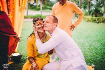 An adorable couple shot at their haldi ceremony!