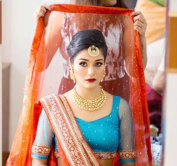 Bride Wearing Dupatta Shot
