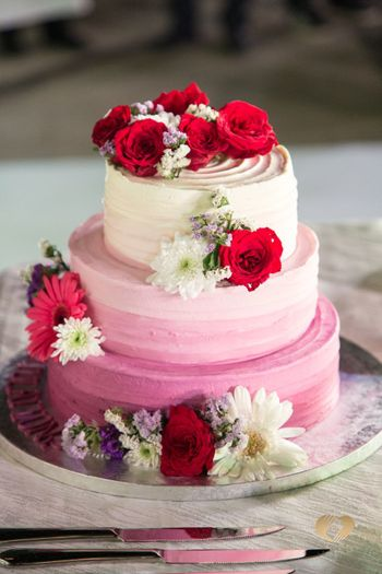 3 tier ombre wedding cake with florals