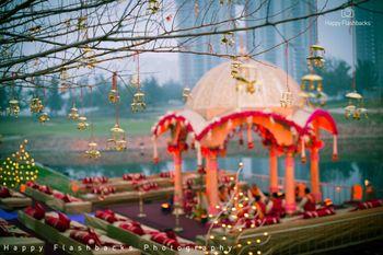 Traditional lake side mandap decor