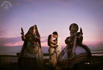 Kathakali pre wedding shoot theme