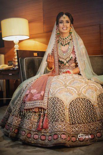Unique bridal lehenga with contrasting dupatta