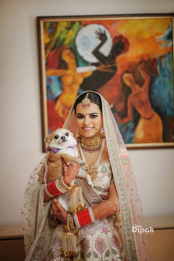 Bridal wedding day portrait idea with dog