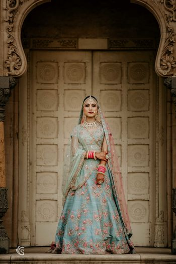 Offbeat bridal lehenga in editorial style shoot