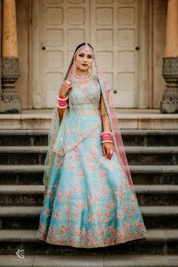 Floral offbeat bridal lehenga in light blue