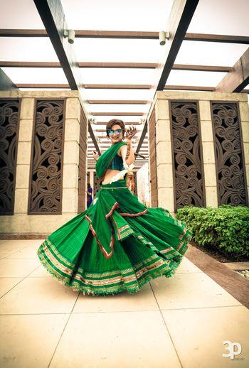 Photo of emerald green lehenga