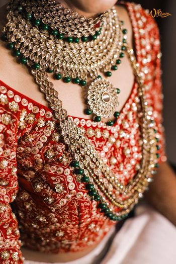 Layered kundan bridal necklace with green beads