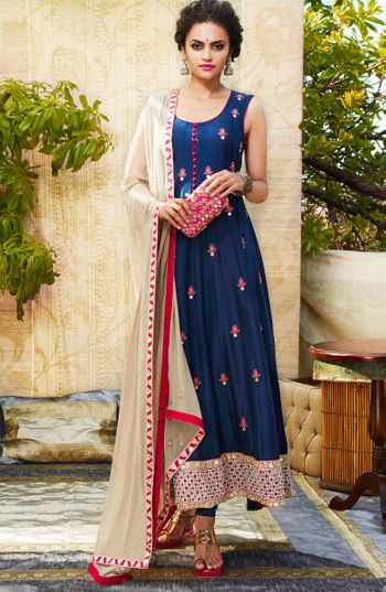 blue sleeveless raw silk anarkali