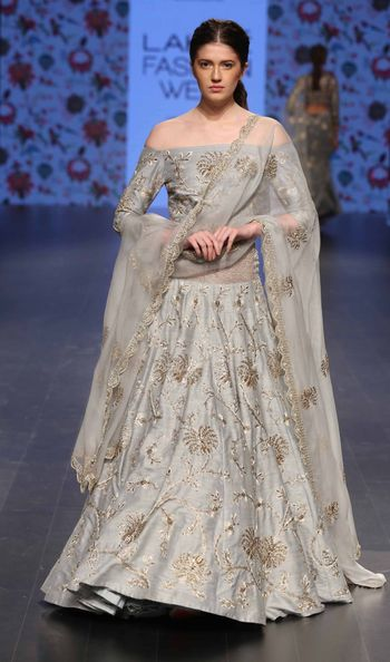 Photo of champagne grey lehenga