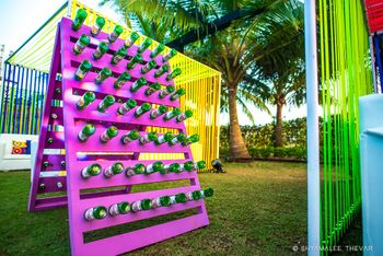 Unique decor idea with bottles on stand
