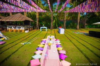 Photo of Mehendi or brunch decor idea with low seating cushions