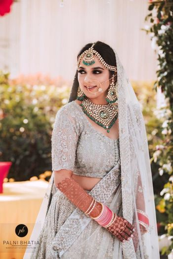 Offbeat bridal lehenga colour in silver grey
