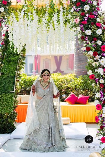 Offbeat bridal lehenga for day wedding in sage green