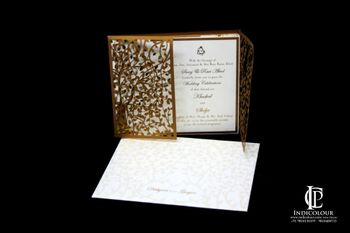 Gold and White Laser Cut Wedding Card